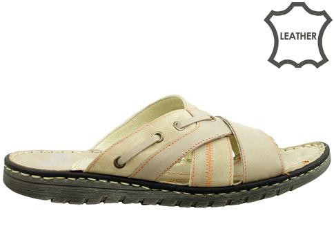 Анатомични мъжки чехли, изработени от естествена кожа  2606vsv