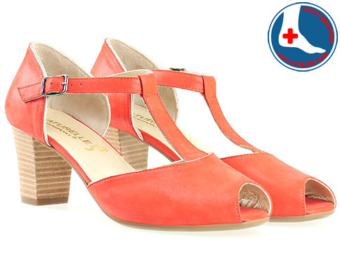 Дамски обувки от естествена кожа на анатомично комфортно ходило с каишка в червен цвят z1653chv