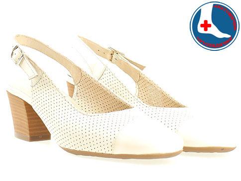 Бели дамски сандали с изчистена визия Naturelle на среден ток z7610bj