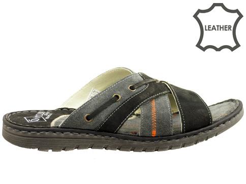 Анатомични мъжки чехли, изработени от естествена кожа  2606vch