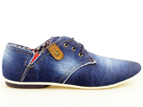 Комфортни и леки мъжки обувки с връзки, изработени от деним 0008ds
