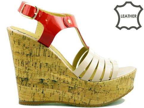 Атрактивни дамски сандали на комфортна платформа, изработени от 100% естествена кожа с свежа цветова комбинация 2914lchv