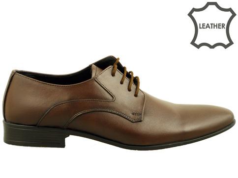 Изчистен модел елегантни мъжки обувки от висококачествена естествена кожа в кафяв цвят 620kk
