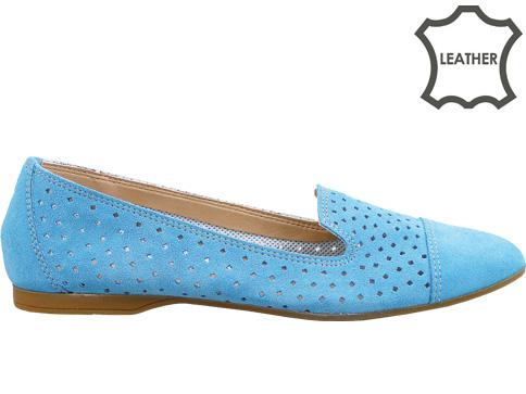 Атрактивни равни дамски обувки с перфорация, изработени от 100% естествен велур, ишлеме за Италия m424vs