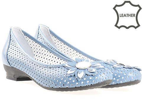 Сини дамски обувки с флорална декорация на нисък ток n280s