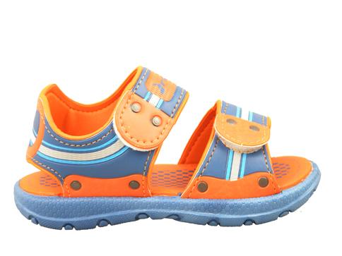 Детски сандали в свежа комбинация от син и оранжев цвят, с две лепенки 8060720771