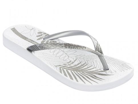 Качествени бразилски дамски джапанки Ipanema в модерна сребърно - бяла цветова комбинация 8145120932