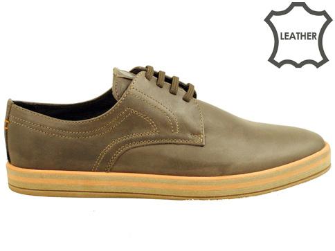 Мъжки спортни обувки с удобно каучуково ходило, произведени в България от кафява естествена кожа 83150k