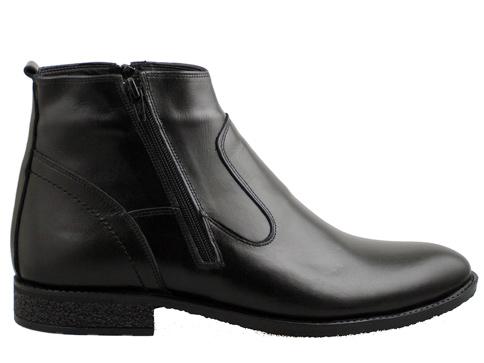Елегантни мъжки боти със стилен италиански дизайн, произведени от черна естествена кожа n1121ch