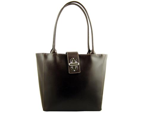 Кафява изчистена дамска чанта с метална закопчалка, изработена от естествена кожа a70gkk