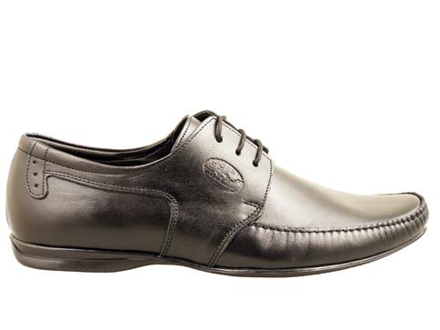 Черни ежедневни мъжки обувки, тип мокасина, с връзки 110ch