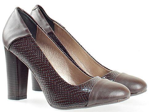 Кафяви дамски обувки на висок ток със змийски мотив 75zkk