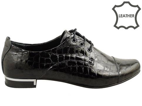 Стилни ежедневни дамски обувки с връзки, изработени от естествен кроко лак 102257klch