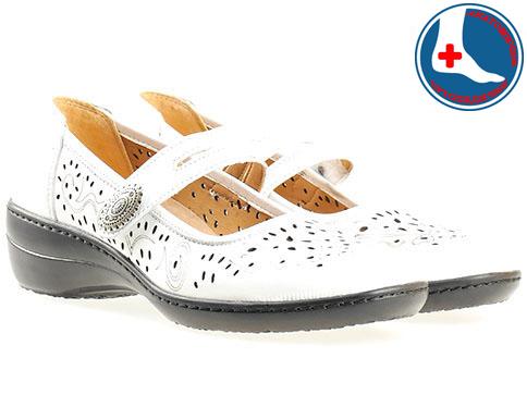 Анатомични дамски обувки Loretta с перфорация , изработени от 100%  естествена кожа в бял цвят l5168b