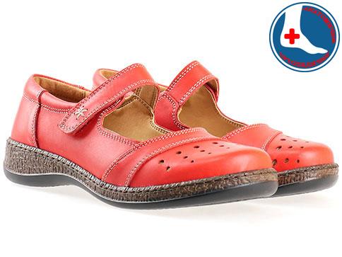 Анатомични дамски обувки Loretta, изпълнени от 100% естествена кожа в червен цвят l5538chv