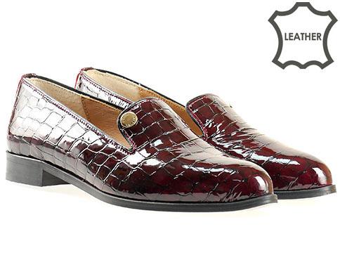 Дизайнерски дамски обувки с несравним комфорт в цвят бордо, произведени от  4247klbd