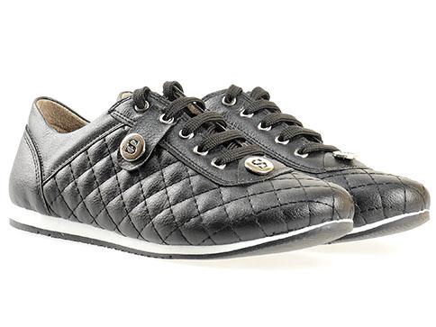 Дамски спортни обувки с ефектна визия и декоративни шевове, изпълнени в черен цвят 583ch