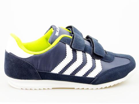 Удобни детски маратонки на марката Buiidozer с две лепенки в син цвят v8201-35s