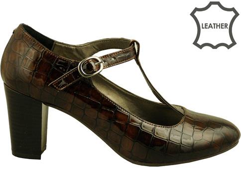 Стилни дамски обувки, изработени от модерен кроко  лак hh102klkk