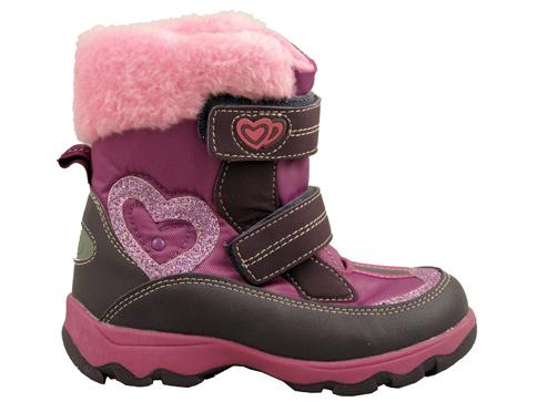 Удобни и топли детски боти с две лепенки в лилав цвят за момичета 9073-35l