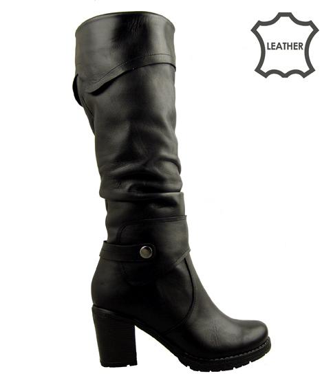 Стилни дамски ботуши от естествена кожа с естествен агнешки хастар 122670ech