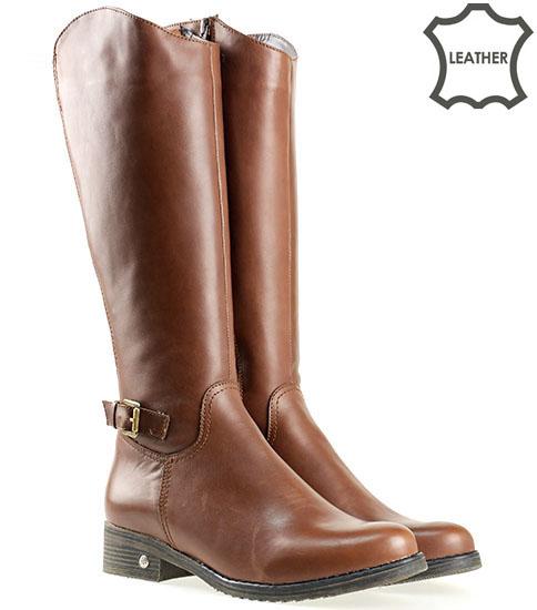 Комфортни дамски ботуши на нисък удобен ток, изработени от кафява естествена кожа в кафяв цвят 842k
