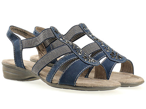 Дамски сандали на нисък ток от Jana, от текстил в син цвят 828163vs