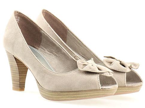 Обувки на висок ток Marco Tozzi, изработени от висококачествен текстил в бежов цвят 229302vbj