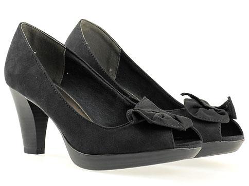 Обувки на висок ток Marco Tozzi, изработени от висококачествен текстил в черен цвят 229302vch