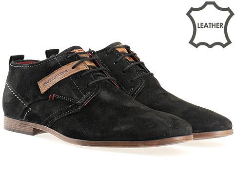 Лимитиран модел мъжки обувки S.Oliver, от черен естествен велур 515101vch