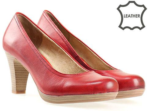 Немски обувки на ток естествена кожа Tamaris  с Antishokk система 122410chv