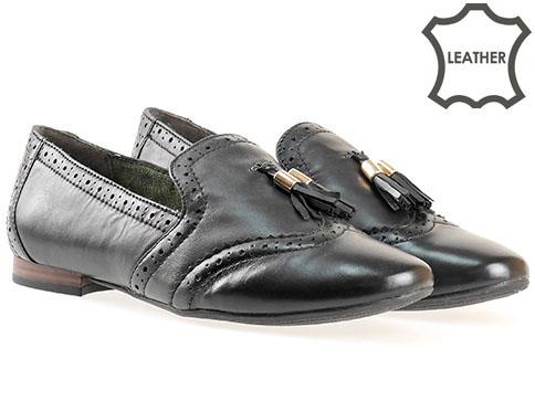 Немски дамски обувки  Tamaris, изработен от естествена и еко кожа в черен цвят 124214ch
