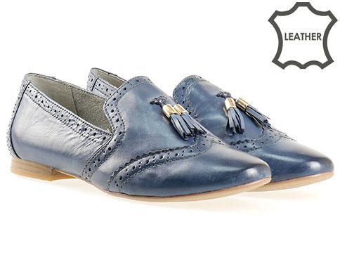 Немски дамски обувки  Tamaris, изработен от естествена и еко кожа в син цвят 124214s