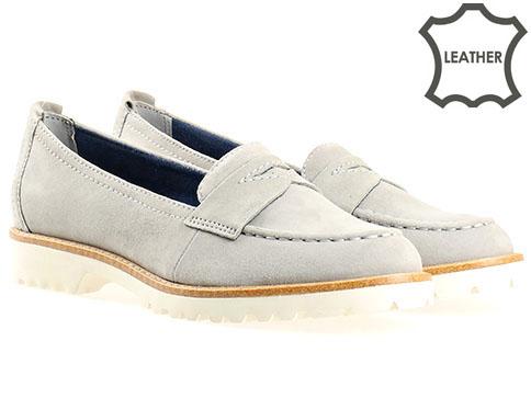 Комфортни дамски обувки Tamaris, дизайнерски модел изработени от 100%  естествен велур в сив цвят 124215vsv
