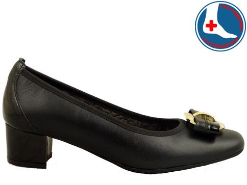 Ортопедични дмски обувки с красива панделка и златист орнамент z7096ch