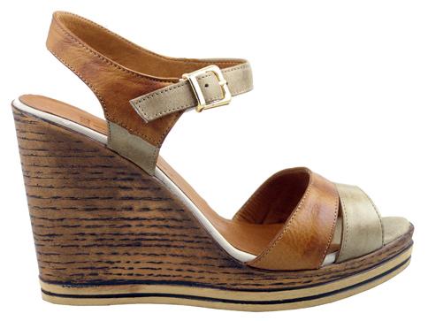Стилни дамски сандали с удобна платформа, изработени от естествена кожа m905k