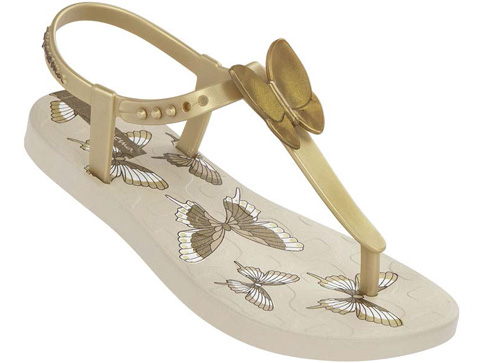 Качествени детски сандали Ipanema за момичета със свежи пеперуди в златисто 81206207880