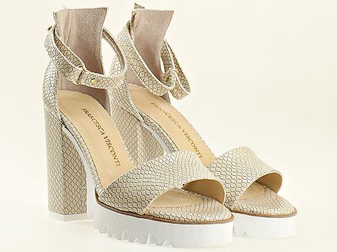Бежови елегантни дамски сандали на висок ток и платформа 1430zbj