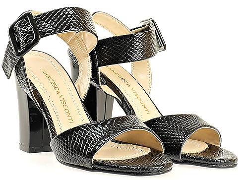 Черни дамски сандали със змийски мотив 146zch