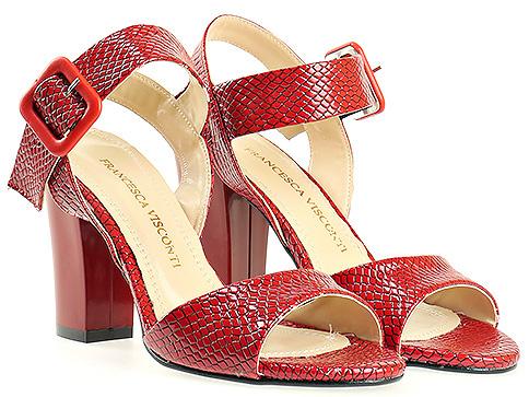 Червени дамски сандали със змийски мотив 146zchv