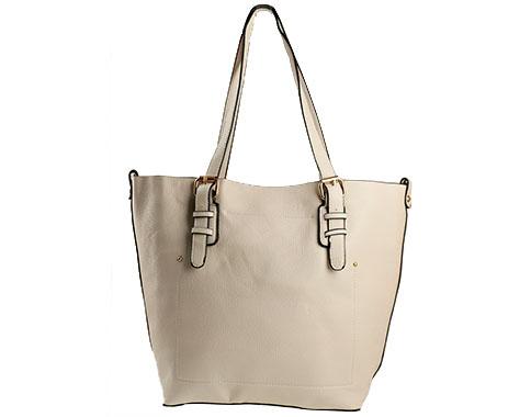 Стилна дамска чанта в светло бежов цвят с изчистен дизайн ch0144bj