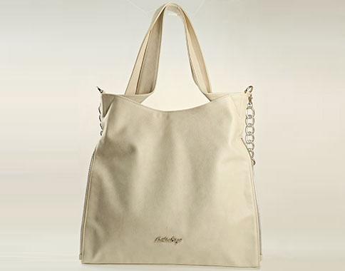 Дамска чанта с интересна раздвижена форма в бежов цвят s1131bj