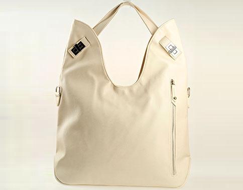 Дизайнерска дамска чанта с интересен метален цип в бежов цвят s1145bj