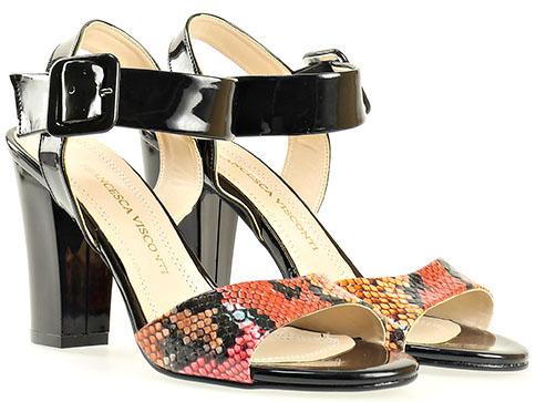 Дамски сандали в пъстра цветова комбинация на висок ток 146ch
