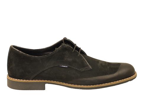 Комфортни мъжки обувки с връзки, изпълнени от черен естествен набук 3991nch