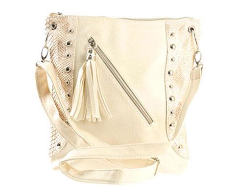 Модерна дамска чанта за през рамо с интересен пискюл в бежов цвят 616bj