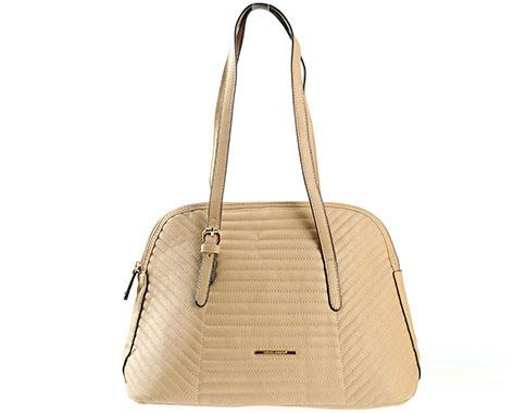 Стилна дамска чанта с интересен френски дизайн в бежов цвят 3819-1bj
