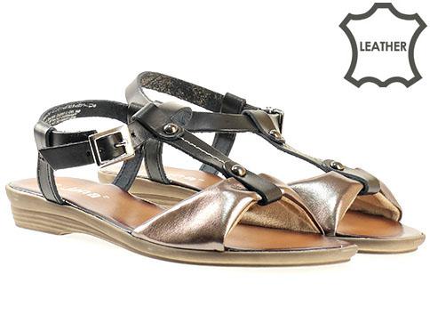 Дамски сандали с иновативна визия на равно ходило в цветова комбинация от златисто и черно, от естествена кожа на немски производител Jana 828108ch