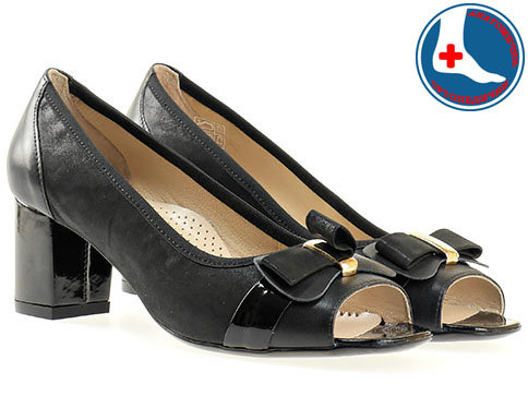 Дамски обувки с ефектна панделка на удобно анатомично ходило в черен класически цвят от естествена кожа z1512ch