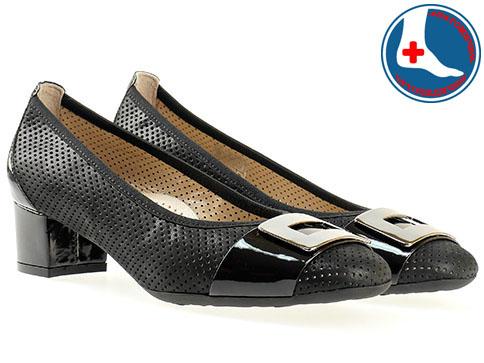 Дизайнерски дамски обувки с ортопедична комфортна стелка в италиански стил, украсени с метален детайл z7099ch